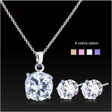 Hot Sale Clear zircon Cz stone Necklace Earring Jewelry Set For Girls