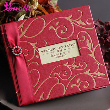 AC130 2013 Red Color Luxurious China Unique Royal Wedding Invitation Cards