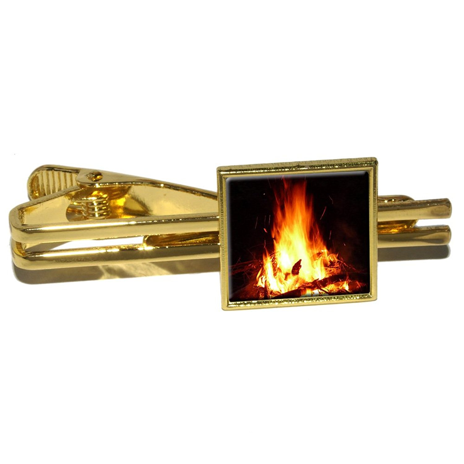 Campfire - Camp Camping Fire Pit Logs Flames Square Tie Bar Clip Clasp Tack - Gold