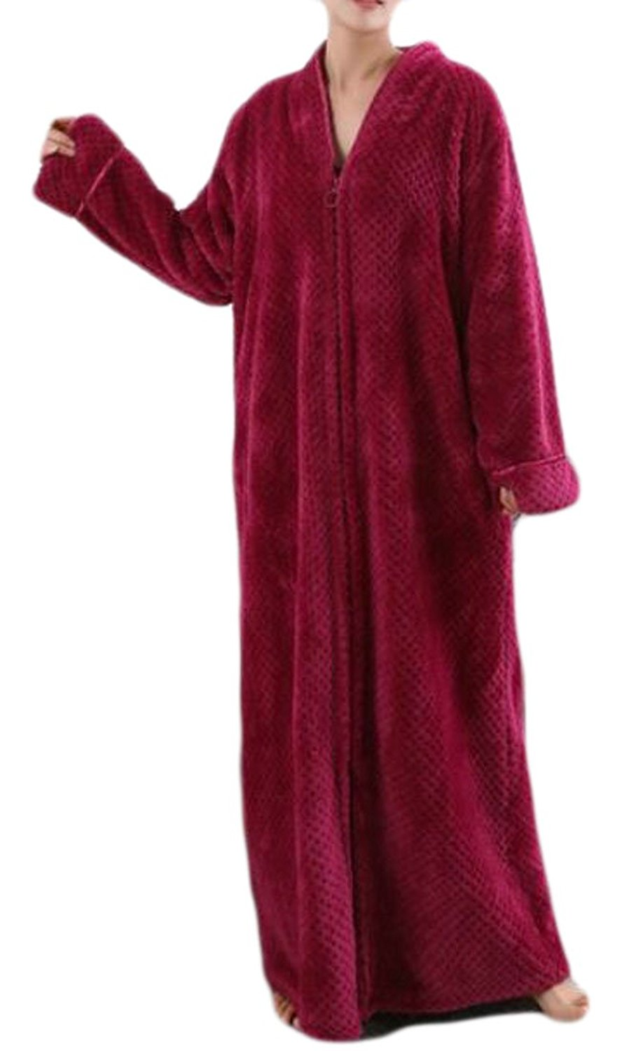 20a368a8b5 Get Quotations · Fulok Womens Flannel Zip-Front Solid Plush Homewear  Bathrobe Robes