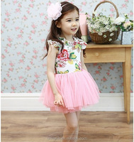 kids clothes manufacturer 2015 spring girls rose dress joint pink children tutu skirt for girls princess lace dress