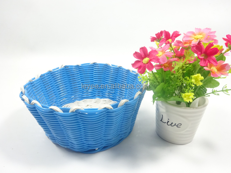 100% woven rattan plastic lined wicker basket