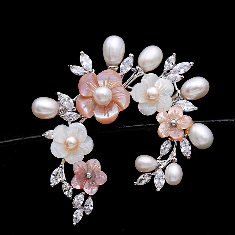 Korean Style Top Grade Bridal Accessories Brooch Pin Crystal Rhinestone Freshwater Pearl Colorful Shell Flower Wedding Brooch