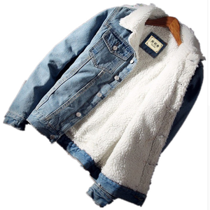 Men Jacket and Coat Trendy Warm Fleece Thick Denim Jacket 2019 Winter Fashion Mens Jean Jacket Outwear Male Cowboy
