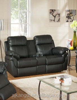2 Seater Leather Recliner Sofa With Drinks Console Buy Recliner
