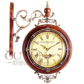 European Design Fancy Decorative Wooden Clock Hanging Double Side