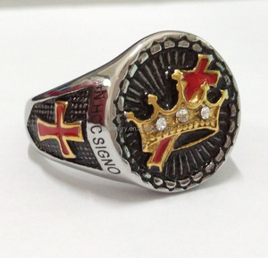 Cheap Wholesale 18k Gold Men's Stainless Steel Knights Templar Crown Masonic Cross Ring With IN HOC SIGNO VINCES Engraved