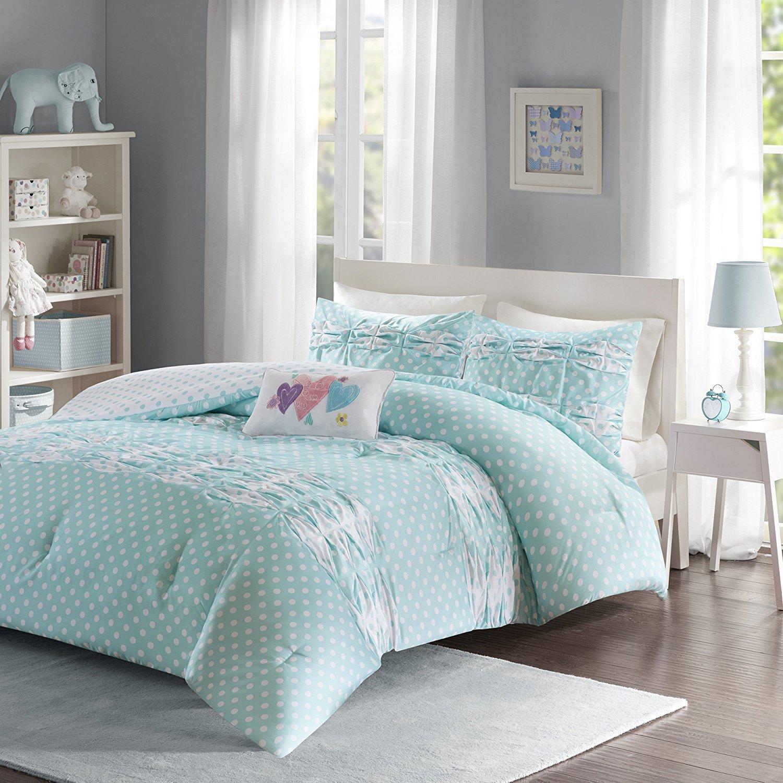 3 Piece Girls Blue White Polka Dots Ruffle Theme Comforter Twin Set, Girly Pretty All Over Polkadot Bedding, Cute Multi Horizontal Diamond Pleat Ruffles Themed Pattern, Light Aqua