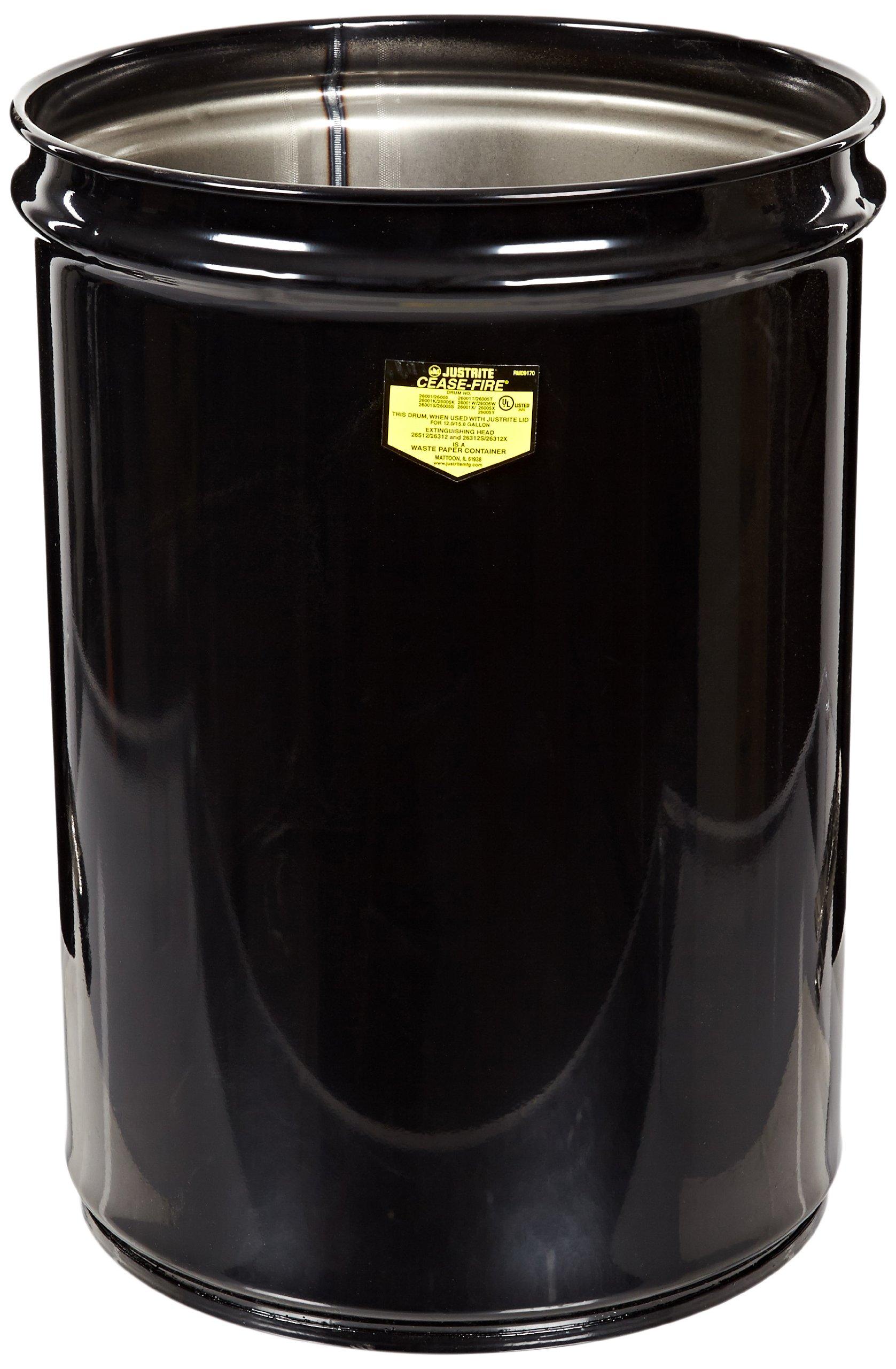 "Justrite 26001K Cease-Fire Steel Drum, 12 Gallon Capacity, 14-1/2"" OD x 20-1/4"" Height, Black"