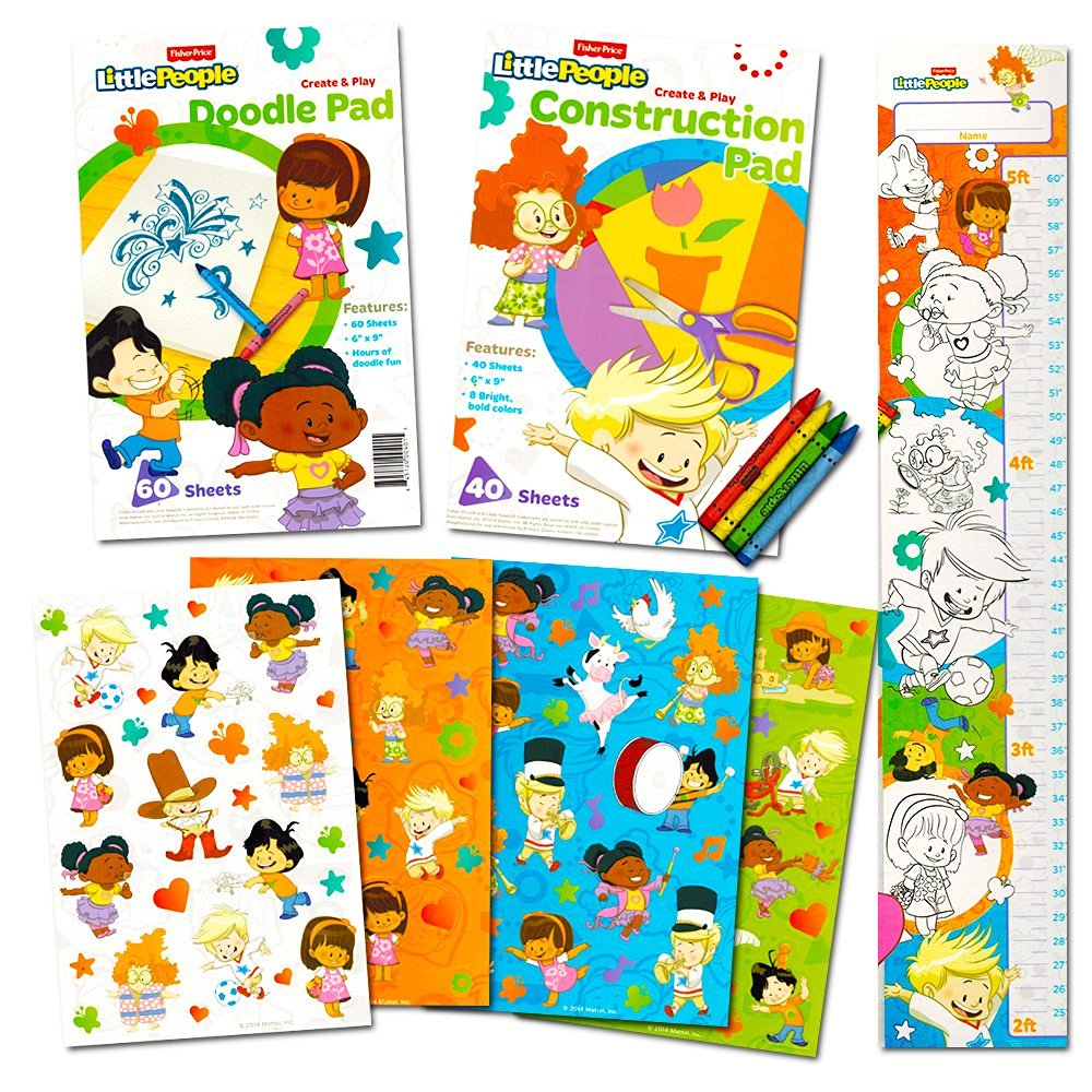 Fisher Price Little People Coloring and Activity Super Set -- Coloring Book, Activity Pad, Over 100 Stickers, Crayons and Growth Chart!