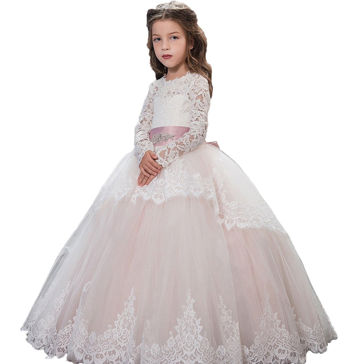 2a156ba8f62 Get Quotations · Aprildress Ivory Lace Flower Girls Dresses Vintage White  First Communion Dress