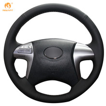 Factory Direct Sale Custom Fit Customized Black Leather Auto Wrap Steering Wheel Cover for for Toyota Fortuner Hilux 2012-2015