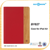 Portable for ipad, case flip PU+wood case for ipad, case for ipad air wood cover