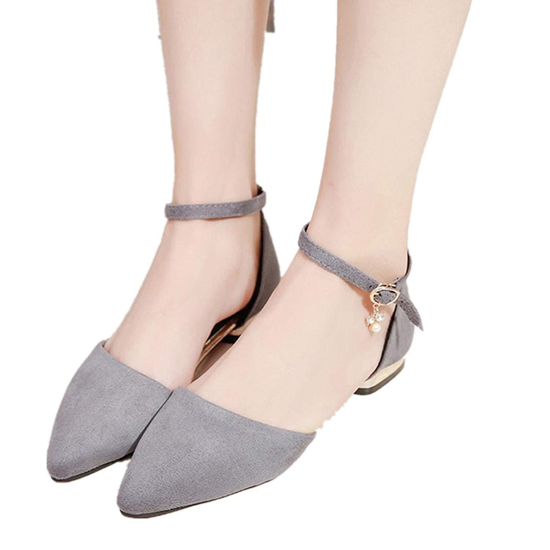 Fheaven (TM)) Womens Smoking Slipper Flats Indoor Outdoor Strap Dress Shoes