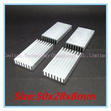 (100pcs/lot) 50x28x8mm Aluminum heatsink radiator for chip LED VGA RAM GPU VGA computer 's component  heat dissipation