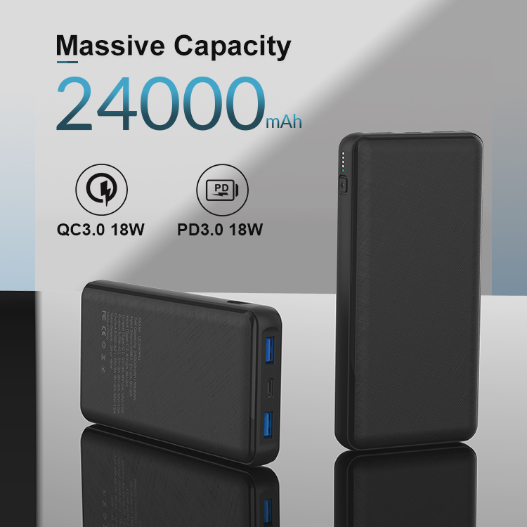High Capacity Portable Phone Charger 24000mAh PD 3.0 18W and QC 3.0 18W Dual USB Fast Charging Power Bank