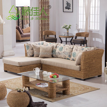 Nice Design Hand Woven Classic Seagrass Natural Rattan Wicker Living Room  Furniture Sectional Sofa Set