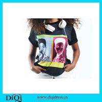 Wholesale clothing 3d t shirt women, t shirs for women, black custom t shirt