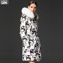 2016 new women s font b winter b font hooded fur collar luxury big cartoon printing