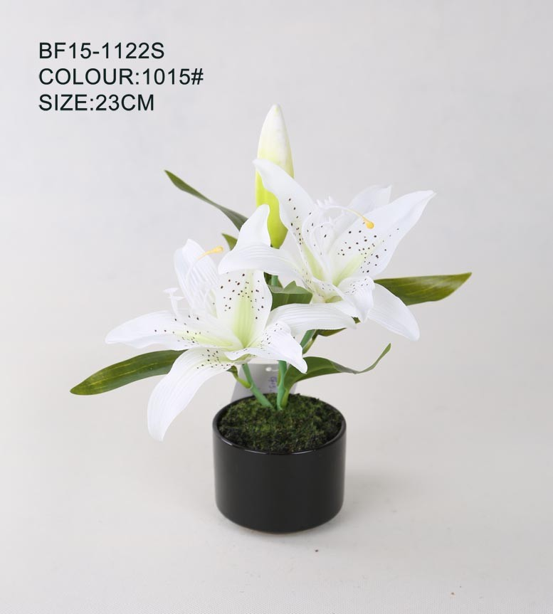 High quality best sale lily artificial flower for wedding decoration, white artificial lily flower