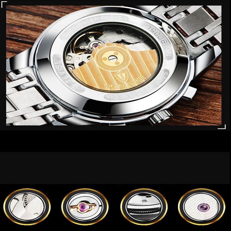 Fashion Men's Business Automatic Mechanical Watches Luxury Stainless Steel Wristwatch For Man Luminous Watch