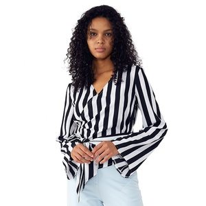 Black White Stripe Wrap Top Long Sleeves - Girls Clothing Womens Blouses