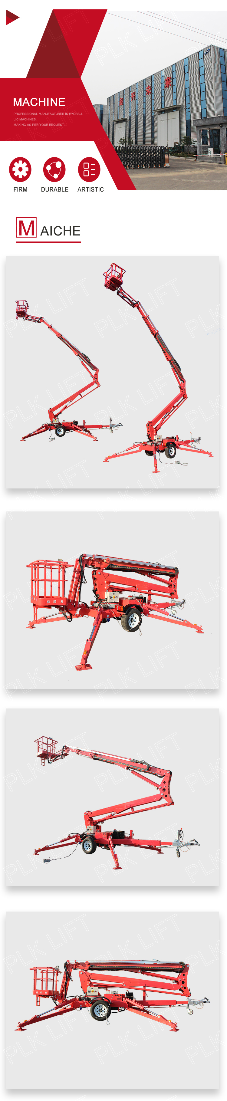 Hydraulic Electric Portable Towable Boom Lift Lifter Machine