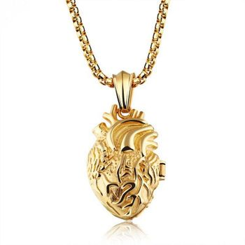 Small Anatomical Human Heart Necklace Gold Sliver Plated Jewelry