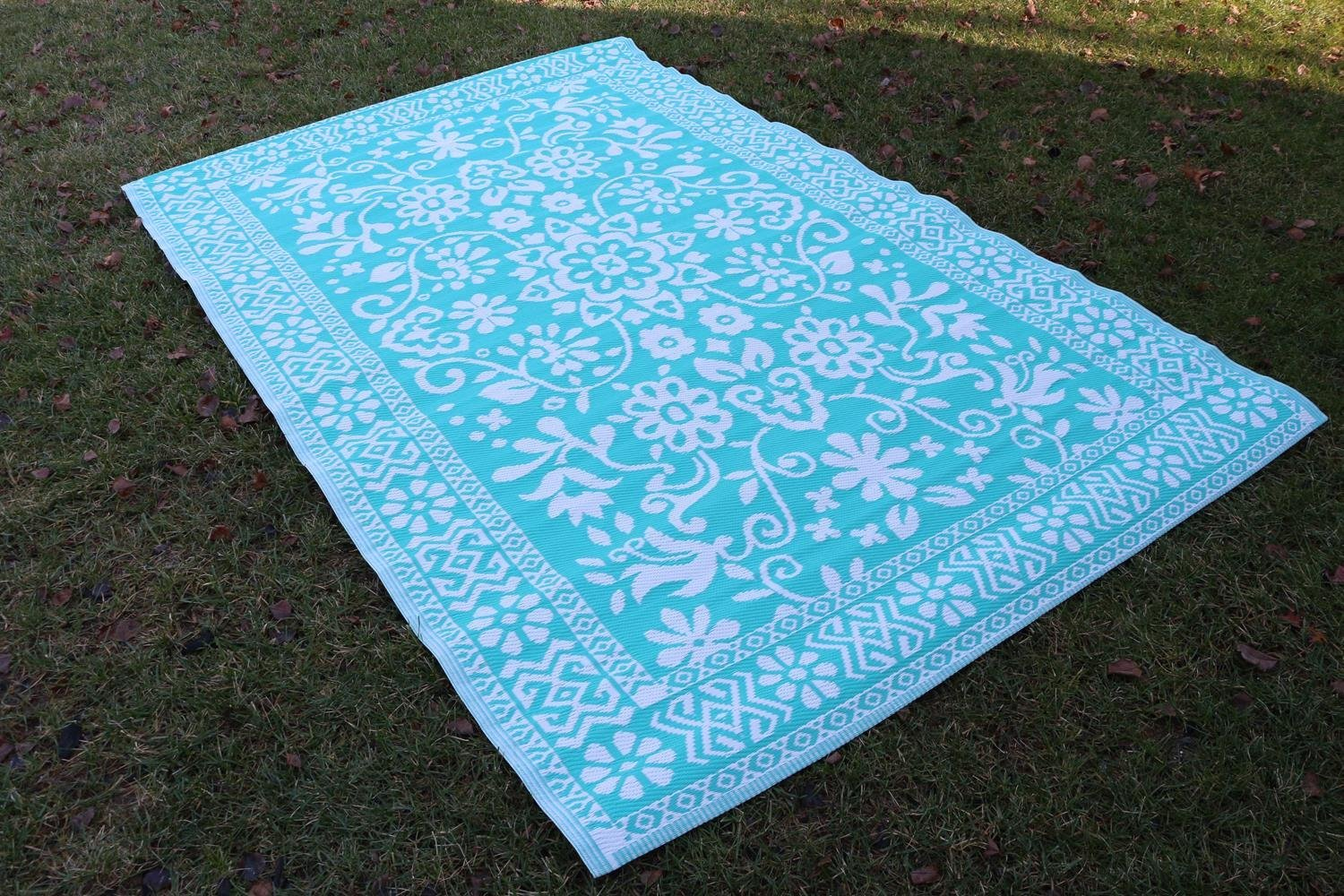 Santa Barbara Collection 100 Recycled Plastic Outdoor Reversable Area Rug Rugs White Tirquios Traditional Fl