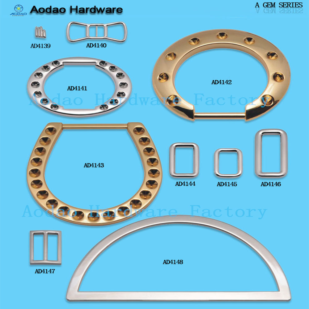 Aodao diamond metal hardware welded d rings belt buckle in bulk