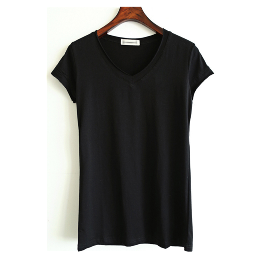 3d8ac0741c93 women plain blank v-neck t-shirt