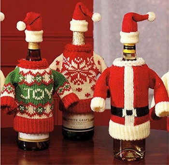 fashion christmas wine bottle dress and hat knit sweater wine decoration