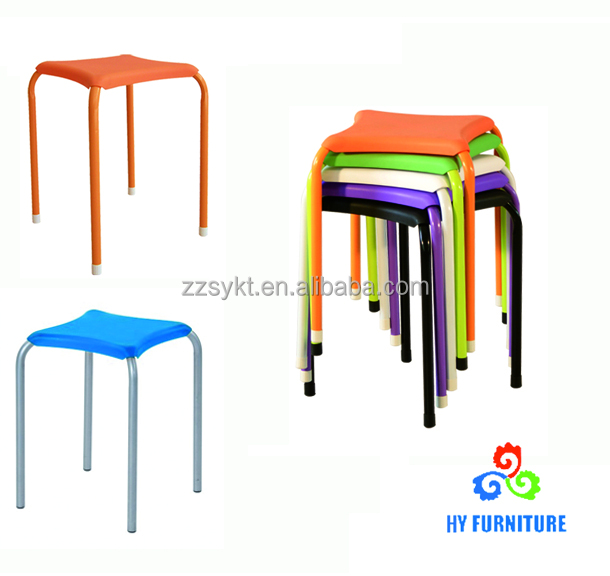 Cheap stackable plastic bar stools with metal legs