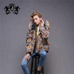 Elegant Outwear For Ladies Fur Trim Down Padded Fur Jacket Short Parka