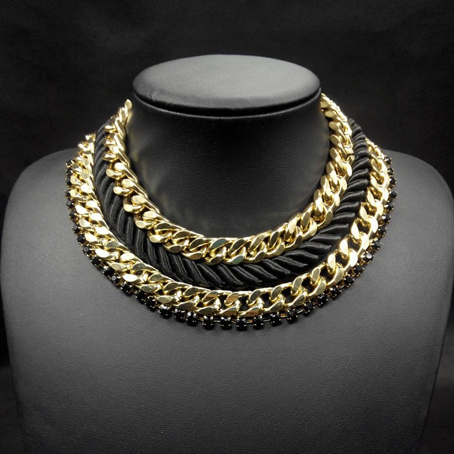 New 2015 Heavy Gold Chain Choker Necklace Fashionable Gold Collar  RD84