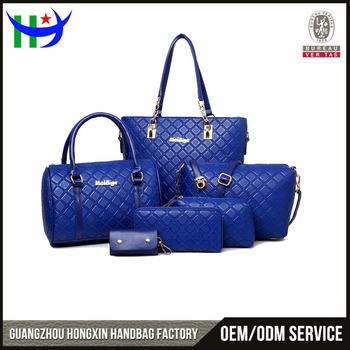 New Trend 2017 Leather Designer Handbag Set 6pcs Women Genuine Famous Brand Name Handbags Whole