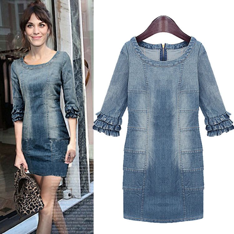 2014 spring and summer women's new fashion solid denim