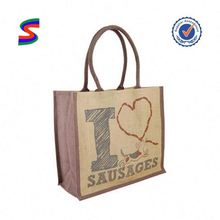 Jute Tote Shopping Bag With Wooden Handle Wine Bags Made Of Jute