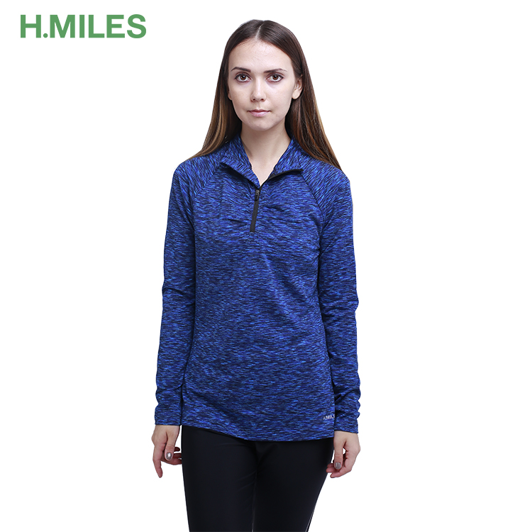 High quality wholesale zipper custom fitness running sport long sleeve shirt women