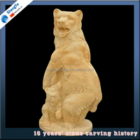 decorative hand carved marble bear statue