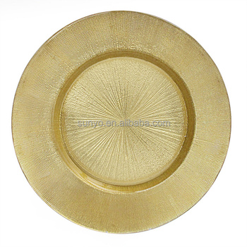 Yellow Gold Rim glass charger plates for hotel