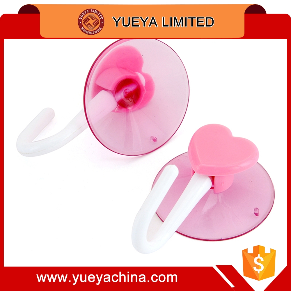 pink heart shaped suction cup hook 2 pces set