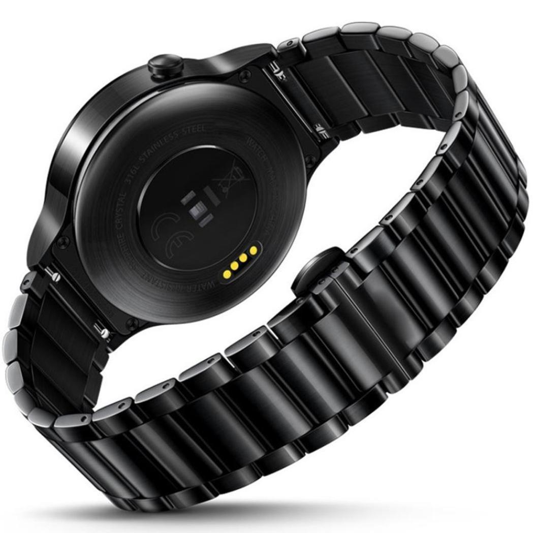 For Huawei Watch Wristband,Binmer(TM) Stainless Steel Mesh Replacement Watch Band for Huawei Watch (Black)