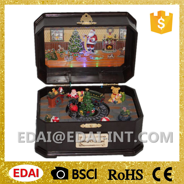 Xmas scene Christmas train rotating music box movement with light sound control