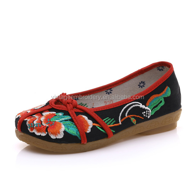 Ladies Embroidery Shoes Soft Sole Slip On Casual Shoes Oxford Vintage Shoes for Women