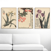 Chinese flowers pastoral art prints traditional ink painting reproduction colored framed paintings Myriart posters vintage