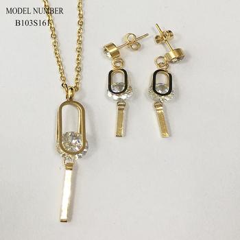 b69ae0ebce5d De acero inoxidable de China conjunto de joyas de oro del encanto de  colgante y pendiente