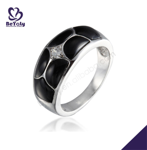 Fine jewelry cz black enamel finger rings for men