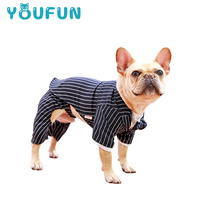 Two-piece Dog Clothes Spring And Autumn Striped Suit British Gentleman Wind Jacket Teddy Bear Two Feet Clothes Pet Clothes