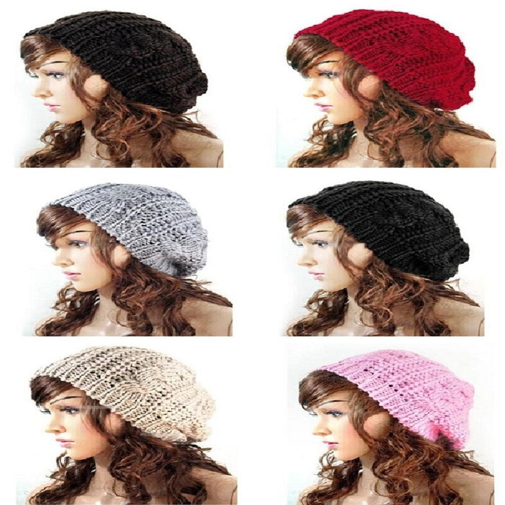 Get Quotations · Keyzone Charming 1X New Women Ladies Beret Knit Hat Baggy  Beret Chunky Knit Braided Beanie Hat 4dd6d5a5ea12